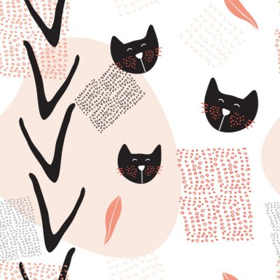 Poster disegnata a mano modello astratto sfondo trasparente con i gatti carino