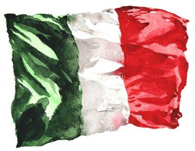 Poster disegnati a mano la bandiera acquerello d'Italia - un realistico, svolazzando i