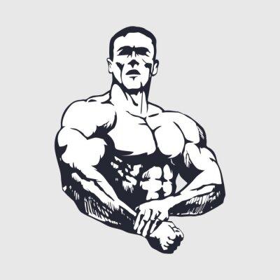 Poster Disegnati a mano uomo muscoloso - Bodybuilder
