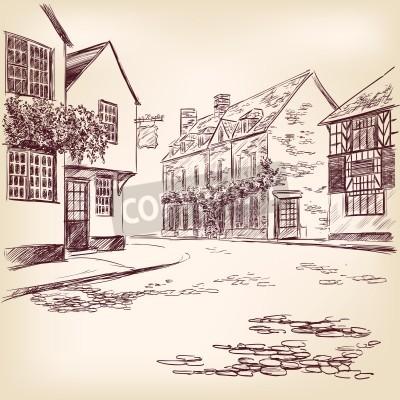 Poster disegnati a mano vecchia strada inglese