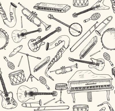Poster disegnato a mano strumenti musicali.