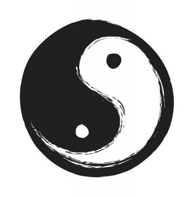 Poster disegnato a mano ying yang simbolo di armonia e di equilibrio, elemento di design