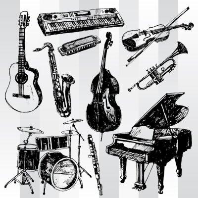 Poster Disegnato Music Instruments mano