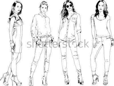 Poster disegni vettoriali sul tema della bella ragazza sportiva sottile in abiti casual in varie pose schizzo di mano inchiostro dipinto senza sfondo