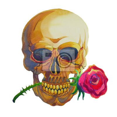 Poster disegno a mano e pittura ad acquerello giorno di zucchero cranio dei morti