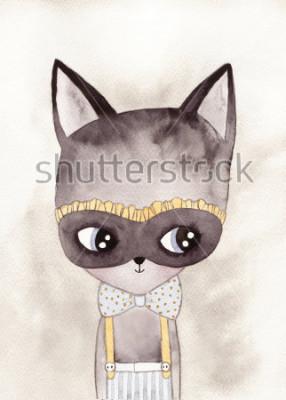Poster disegno ad acquero di gatto di carnevale
