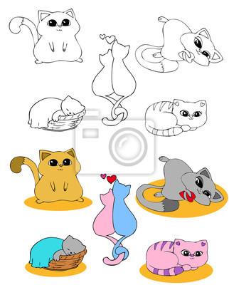 Disegno Da Colorare Set Gatti Manifesti Da Muro Poster Colorazione