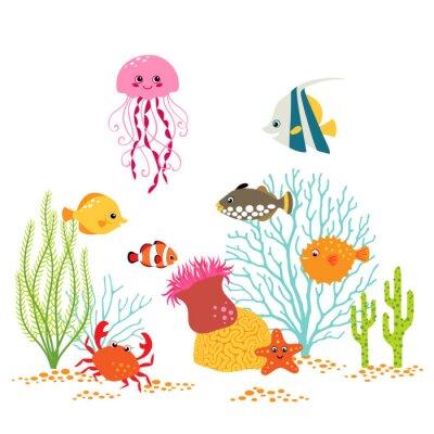 Poster Disegno del fumetto subacquea su sfondo bianco
