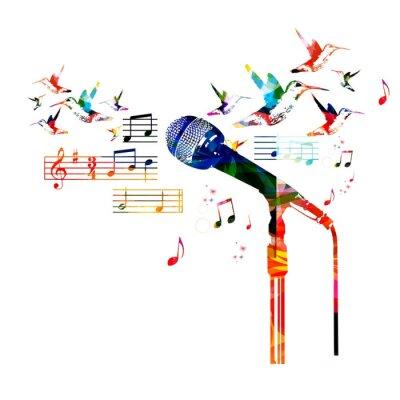 Poster Disegno del microfono colorato