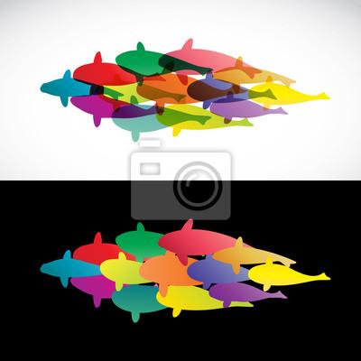 Disegno Di Pesce Su Sfondo Bianco E Sfondo Nero Vector I Manifesti