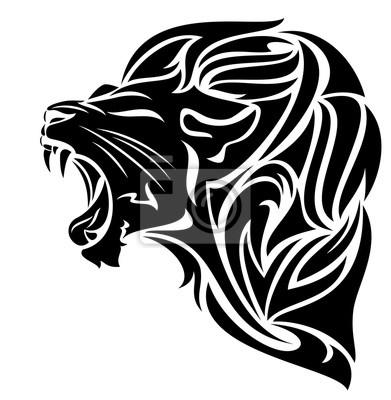 Leone Di Profilo Disegno.Poster Disegno In Bianco E Nero Vettore Testa Di Leone