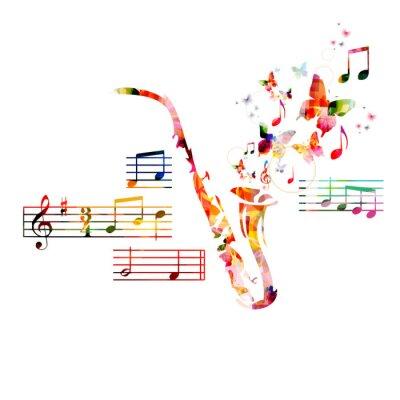Poster Disegno sassofono colorato con le farfalle