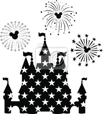 Poster Disney Castle Fireworks, EPS 10,  disney, new year,  mickey mouse head,