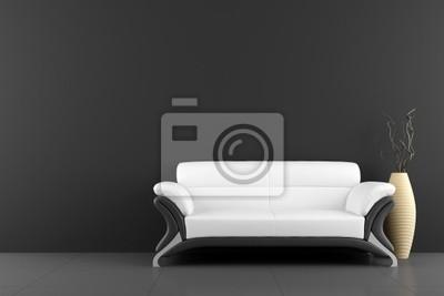 Divani Bianchi E Neri : Divano bianco e vaso con legno secco di fronte al muro nero