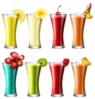 Poster Diversi tipi di cocktail in bicchieri