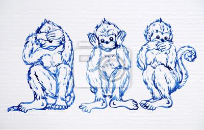 Poster divertente concetto delle 3 scimmie, pittura ad acquerello design illustrazione