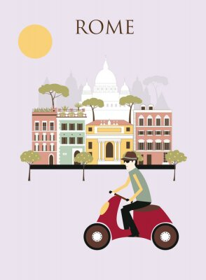 Poster Donna a Roma. Vettore
