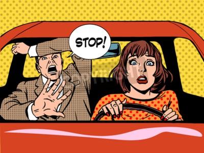 Poster donna autista di guida scuola panico calma retrò stile pop art. Auto e mezzi