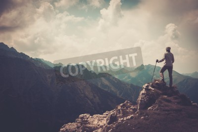 Poster Donna escursionista su una cima di una montagna