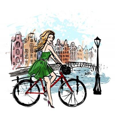 Poster donna in bicicletta di guida