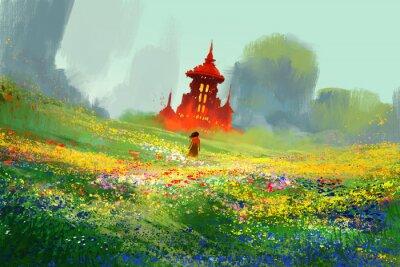 Poster donna in campi di fiori accanto al castello rosso e la montagna, illustrazione pittura