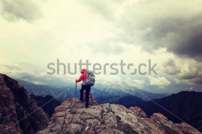 Poster donna zaino in spalla di successo godsi la vista sul picco di montagna