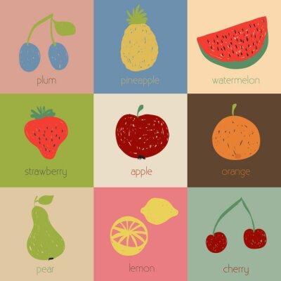 Poster Doodle icone di frutta in colori retrò