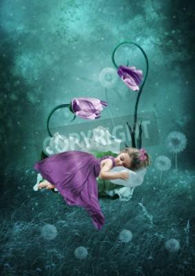 Poster Dormire bambina nella foresta magica
