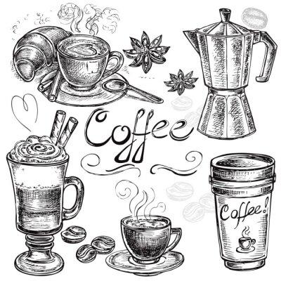Poster drawn set collezione caffè a mano