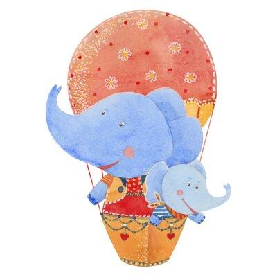Poster due elefanti volare in mongolfiera, illustrazione acquarello