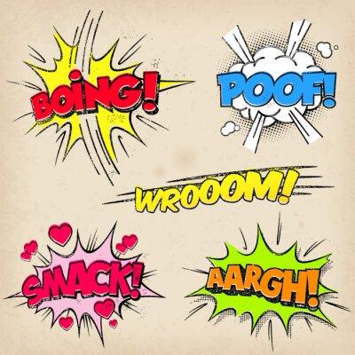 Poster Effetti sonori Comic con stile Grunged