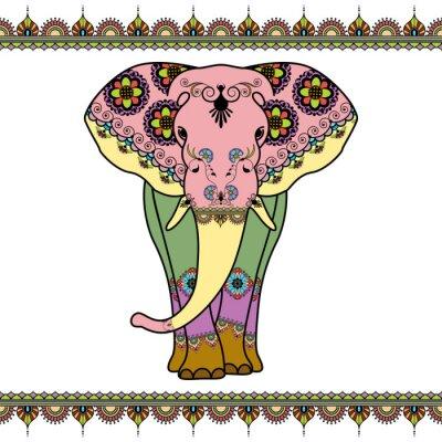 Poster elefante colori con elementi di confine in stile mehndi etnico. Vettore in bianco e nero illustrazione isolato su sfondo bianco