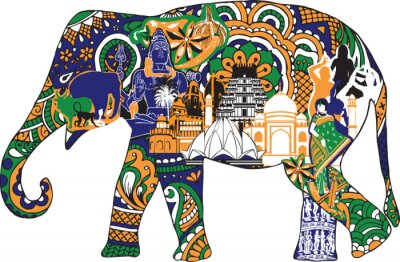 Poster elefante con simboli indiani