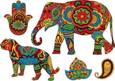 Poster elefante, tigre, Butt e loto, dipinte a mano nello stile di mehendi