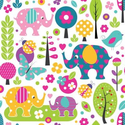 Poster elefanti carino, coccinelle, farfalle e uccelli in un modello colorato foresta