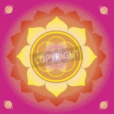 Poster elementi floreali e mandala con senso esoterico per la pratica dello yoga e la progettazione per la salute e il benessere