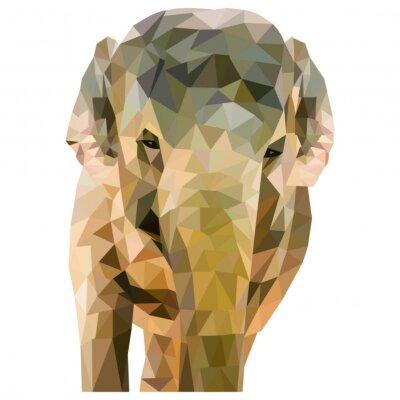 Poster Elephant di triangoli formati su uno sfondo bianco in formato quadrato