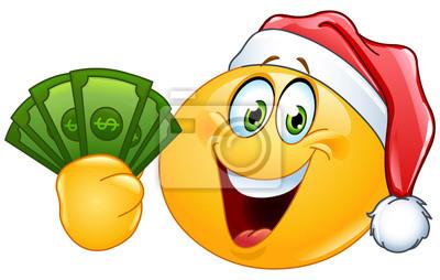 Emoticon con il cappello della santa e dollari manifesti da muro ... 7df109fe0111