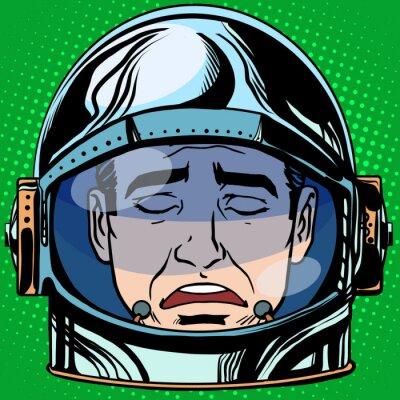 Poster emoticon tristezza Emoji uomo faccia astronauta retrò