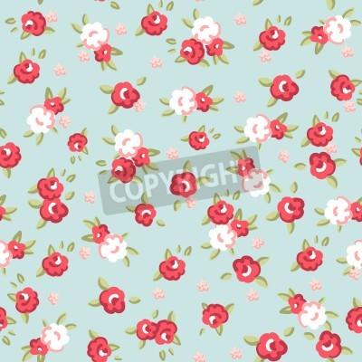 Poster English Rose, Seamless wallpaper con rose rosa su sfondo blu, illustrazione vettoriale