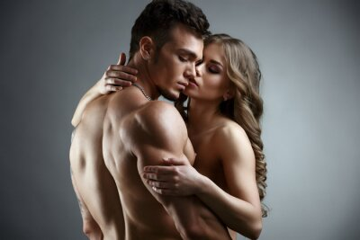 Poster Erotica. Embrace di attraente coppia nuda