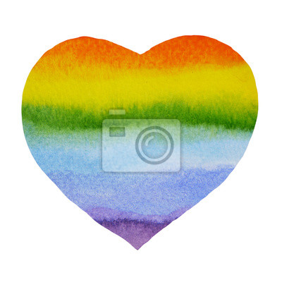 Poster Estratto Cuore pittura arcobaleno, pittura ad acquerello su carta