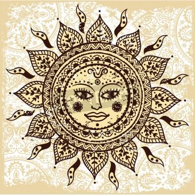 Poster Ethnic ornamental sun