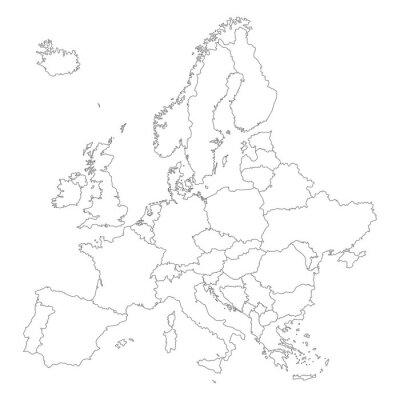 Poster Europa in Weiß - Vektor (Hoher Detailgrad)