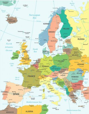 Poster Europe map - highly detailed vector illustration.