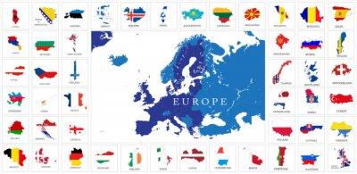 Poster European countries flag maps