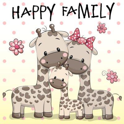 Poster Famiglia di tre giraffe