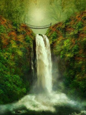 Poster fantastica cascata e ponte