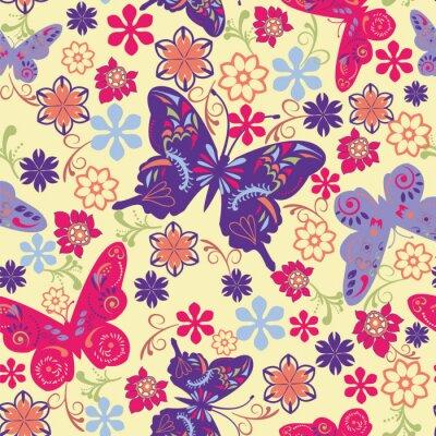 Poster Farfalla e Fiore Seamless Pattern - Illustrazione