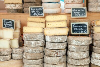 Poster Farmer cheese on market counter